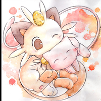 Mew and meowth by kidura d4c04dd